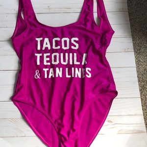 bathing suit - tacos tequila & tan lines- size m/l